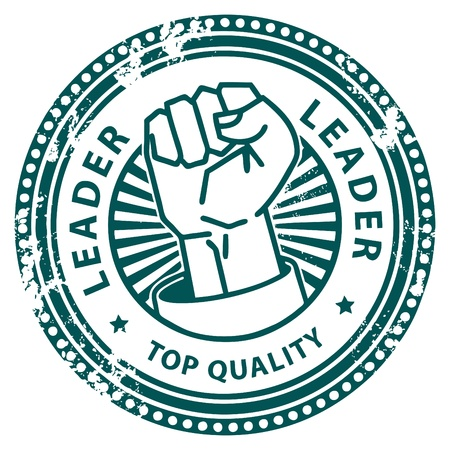 Grunge rubber stamp, with the text Leader written inside Illustration