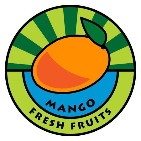 Fruit label, mango Vector