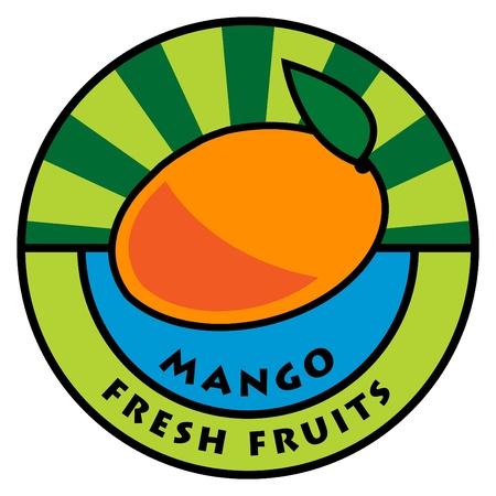 mango juice: Fruit label, mango Illustration