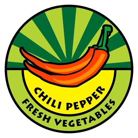 Vegetables label, chili pepper Stock Vector - 14459553