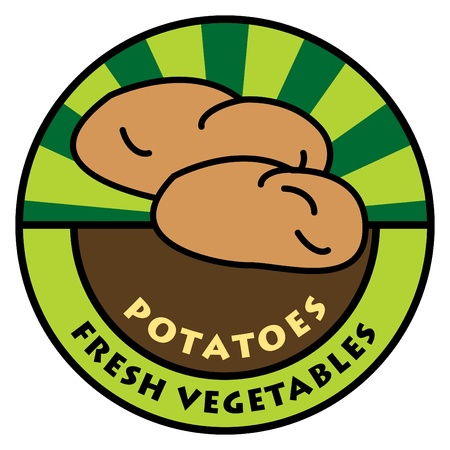 Vegetables label, potatoes Vector