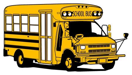 camion caricatura: Autobús de la escuela vieja, ilustración de mano de la cuerda Vectores