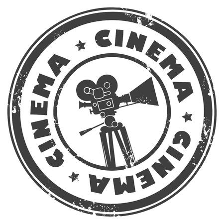 Sello de grunge con la cámara de cine y el cine de la palabra en el interior Ilustración de vector