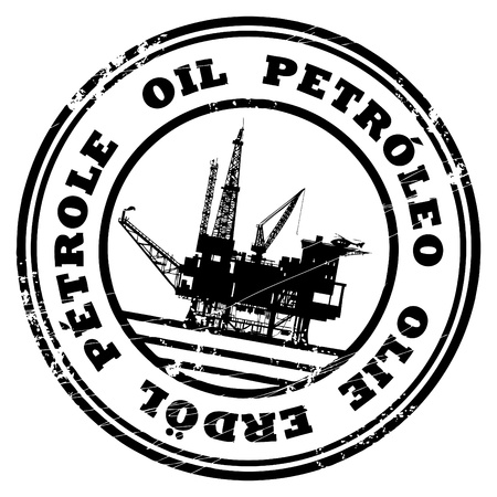 oil platform: Abstract grunge rubber stamp with the text Oil written inside the stamp Illustration