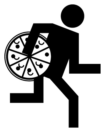 takeout: Pizza delivery man, abstract icon Illustration