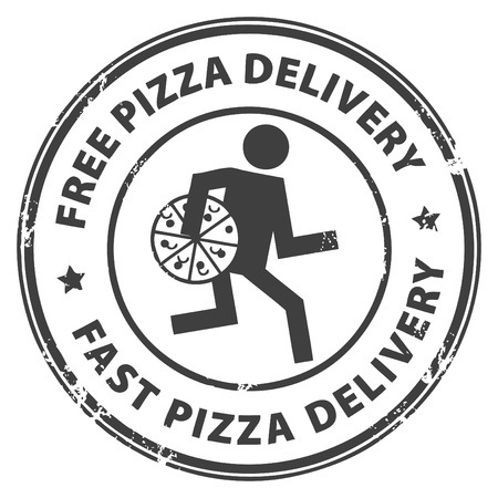 Abstract grunge rubber stamp with the text pizza delivery written inside the stamp Vector