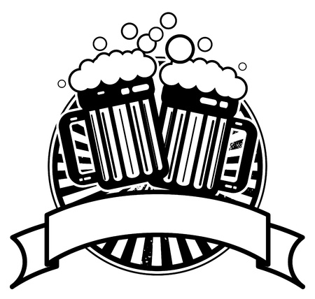 tavern: Icon with beer mugs and space for text