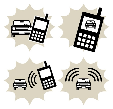 Lot of car and phone icon Vector