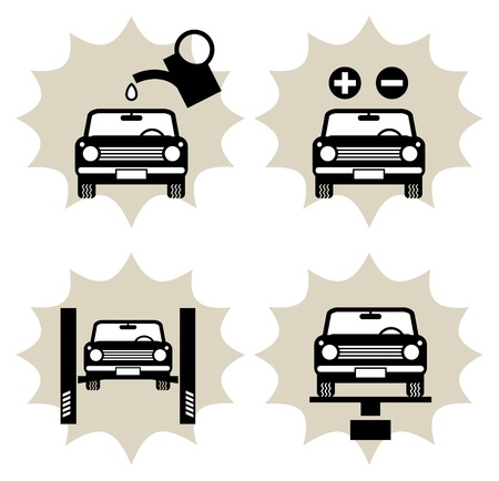 dealer: Lot of car service icon Illustration