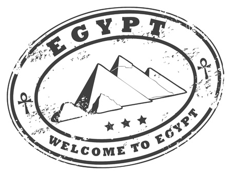 top of the world: Grunge rubber stamp with Pyramids of Giza
