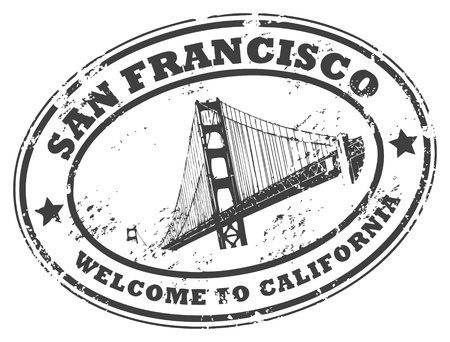 california state: Grunge rubber stamp with Golden Gate Bridge and the word San Francisco, California inside