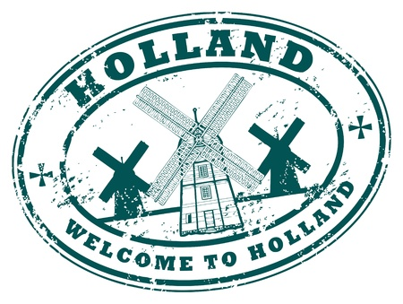 holland windmill: Holanda grunge rubber stamp Vectores