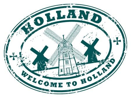 windmolen: Holland grunge rubberen stempel Stock Illustratie