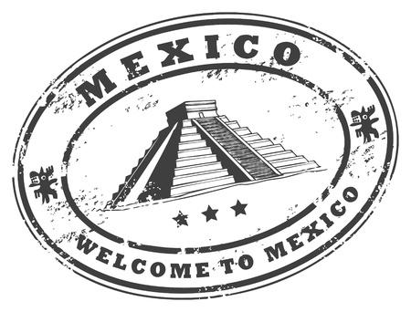 Мексика: Grunge штамп с Чичен-Ица