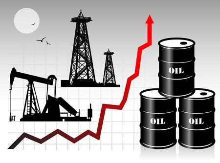 Oil barrels with price graph Vector