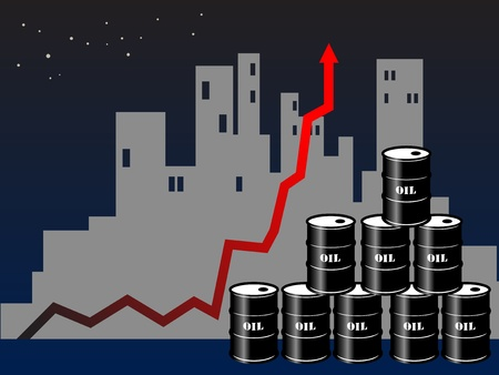 fuel crisis: Oil barrels with price graph