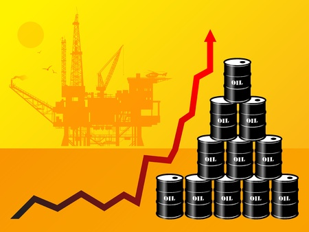Oil barrels with price graph