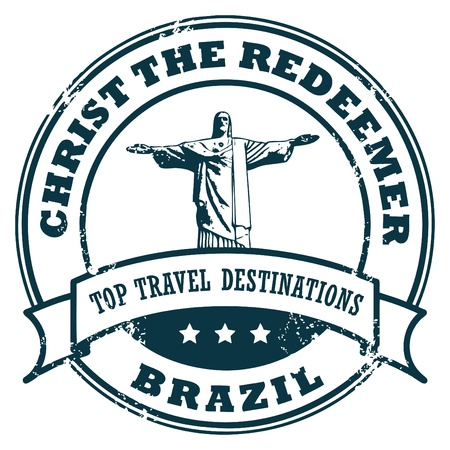 the redeemer: Grunge rubber stamp with the statue of the Christ the Redeemer and text Rio de Janeiro
