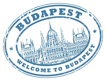Grunge rubber stamp with Parliament building and the words Budapest inside