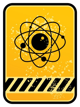 Grunge atom area warning sign Vector