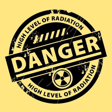 Nuclear danger warning stamp Vector