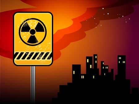 toxic cloud: Nuclear danger warning background
