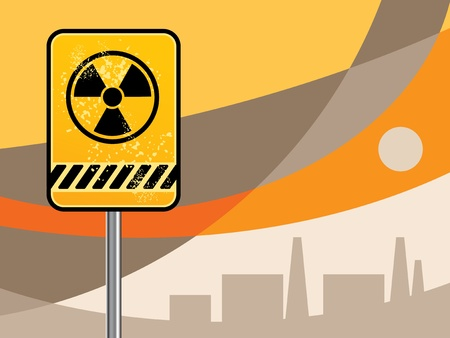 Nuclear danger warning background Vector