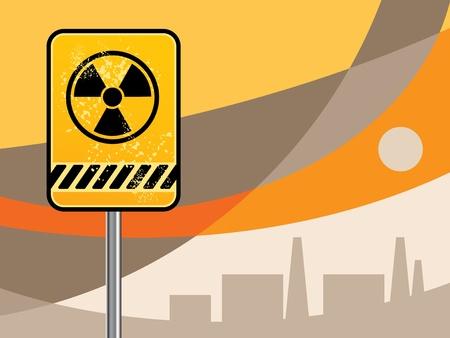 Nuclear danger warning background Vector