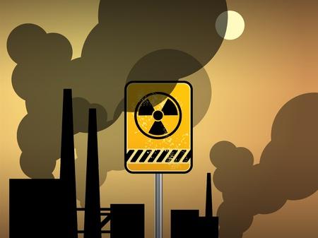 bombe atomique: Nucléaire fond d'avertissement de danger