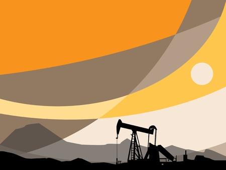 pozo petrolero: Bomba de aceite y puesta del sol abstracta