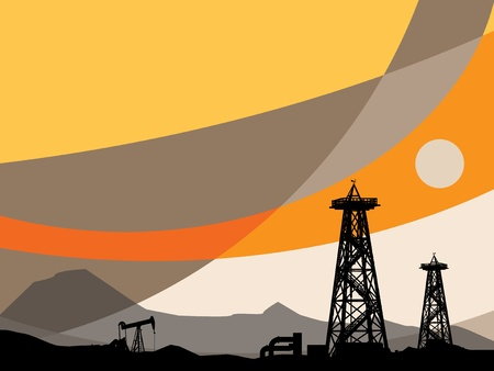 natural gas: Oil rig silhouettes and abstract sky