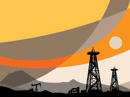 recursos naturales: Siluetas de plataformas petroleras y el cielo abstracto