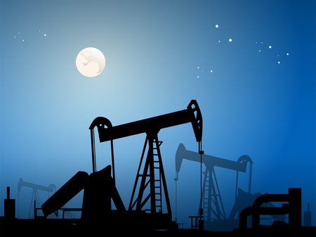 Silhouette of oil pumps Vector