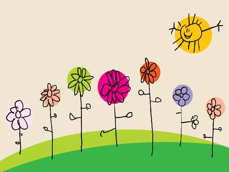child s: Child s drawing flower