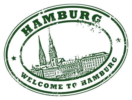 Tampon en caoutchouc grunge avec le mot de Hambourg à l'intérieur