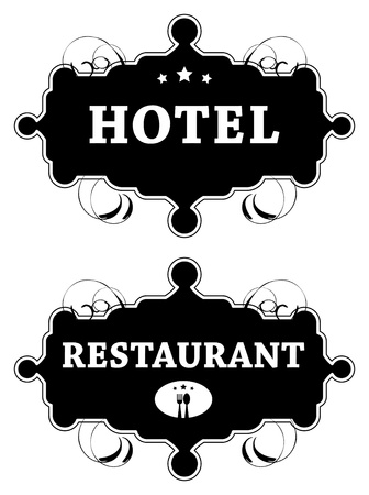Vintage hotel and Restaurant signs Vector