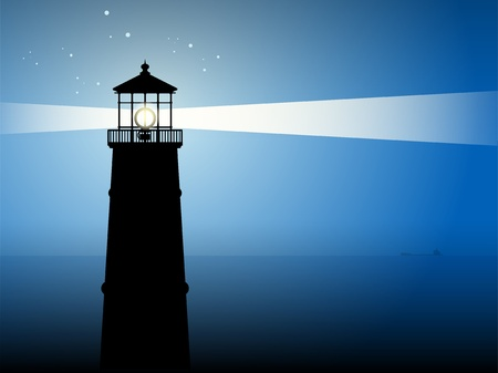 tall ship: Lighthouse silhouette at night Illustration