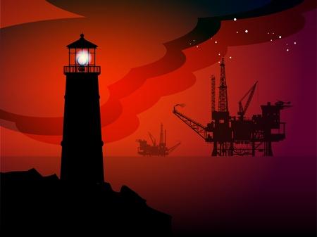 lighthouse at night: Faro y plataformas petroleras siluetas en la noche