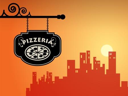 Pizzeria sign Vector Illustration