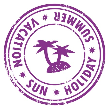 Grunge stamp with the palm, island and words Vacation, Holiday, Sun written inside Vector