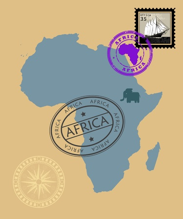 Set of rubber stamps of theme Africa Vector