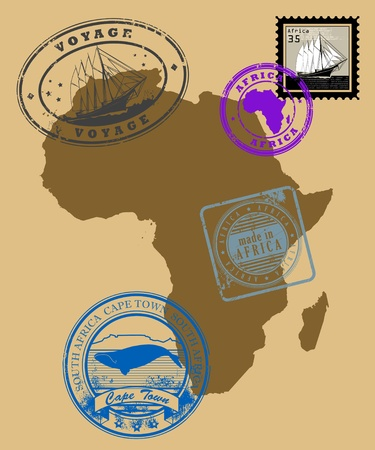 cape town: Set of rubber stamps of theme Africa