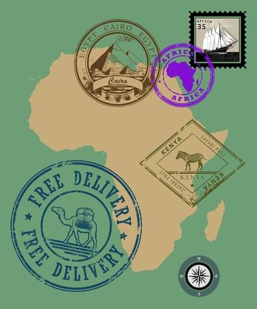 timbre voyage: Set de tampons en caoutchouc de l'Afrique le thème