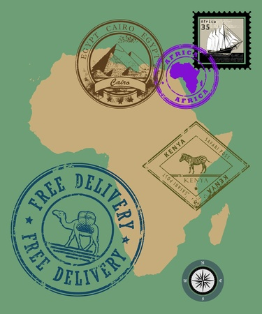 camel post: Set of rubber stamps of theme Africa