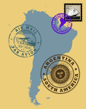 argentina map: Set of rubber stamps of theme South America