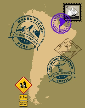machu: Set of rubber stamps of theme South America