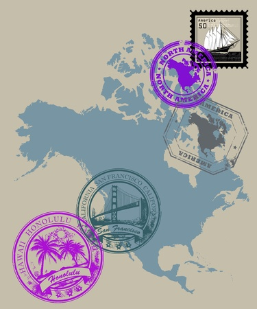 Set of rubber stamps of theme North America Vector