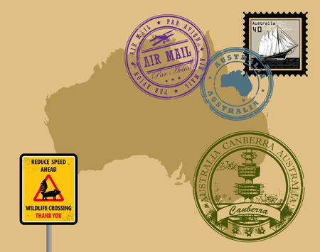 air mail: Set of rubber stamps of theme Australia