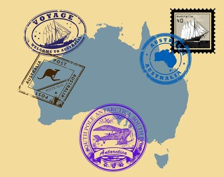 Австралия: Набор штампов темы Австралии Иллюстрация