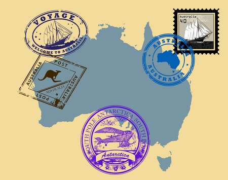 Set of rubber stamps of theme Australia